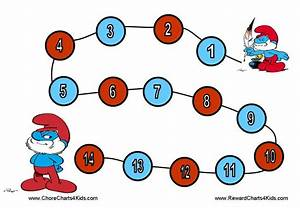 Weekly Chore Chart For Kids Smurf Reward Charts