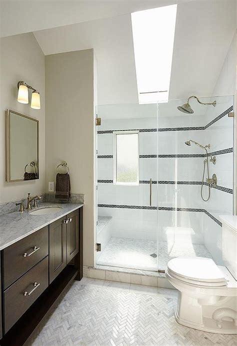walk shower sloped ceiling skylight transitional