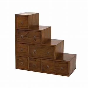 meuble escalier en mindi avec 7 tiroirs 76x34x76cm abang With meuble 7 tiroirs