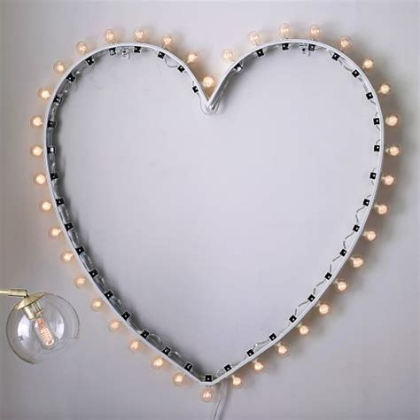 heart marquee wall light pottery barn