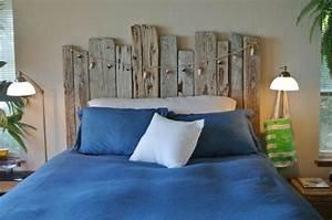 Tete De Lit Bois Vieilli : t te de lit bois flott pour une chambre d 39 ambiance naturelle ~ Teatrodelosmanantiales.com Idées de Décoration