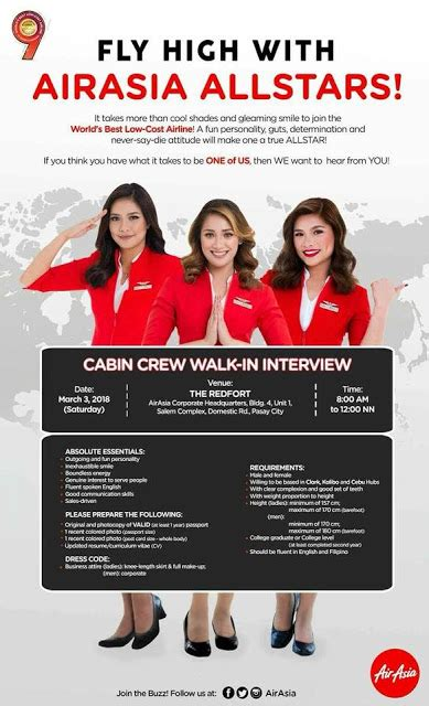 Air Cabin Crew Recruitment Fly Gosh Air Asia Cabin Crew Recruitment 2018 Walk In