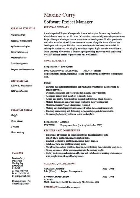 Resume Creator For Linux by Software Project Manager Resume