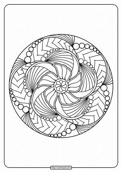 Coloring Mandala Adult Printable Floral