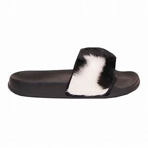 Ladies Slip On Farrah Furry Rubber Sliders Sandals Shoes ...