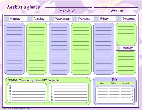 week at a glance calendar images of week at a glance templates for boys calendar