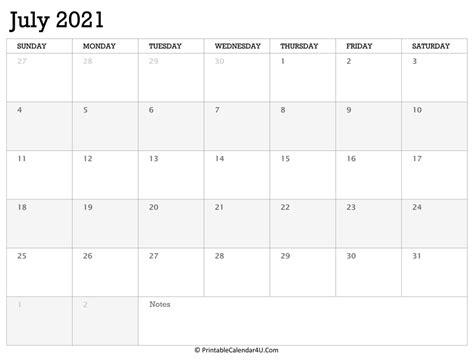 printable calendar july   holidays