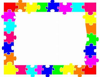 Puzzle Clip Clipart Jigsaw Autism Puzzles Border