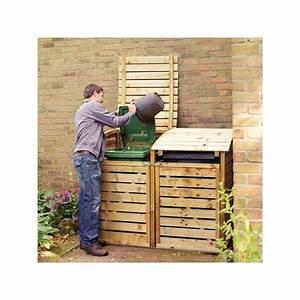 Range Bois Exterieur : cache poubelles double en bois trait ~ Edinachiropracticcenter.com Idées de Décoration