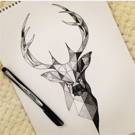 tattoos geometric stag drawing  inverness museum