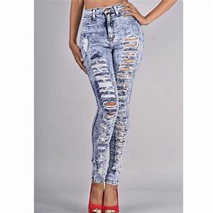 RIPPED HIGH WAISTED JEANS — IMAJE