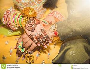 Indian Bride And Groom Holding Hands. Stock Photo - Image ...