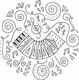 Accordion Coloring sketch template