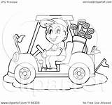 Golf Cart Driving Clipart Cartoon Happy Outlined Vector Royalty Visekart Illustration sketch template