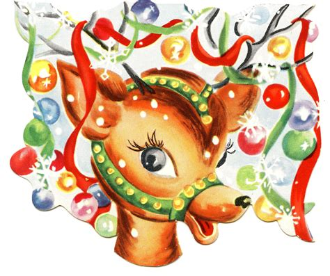 retro christmas image colorful cute reindeer