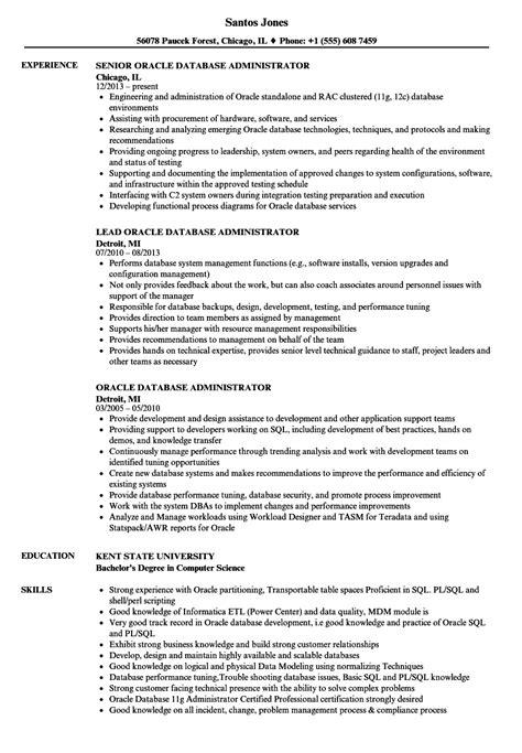 Resume Database by Oracle Database Administrator Resume Sles Velvet