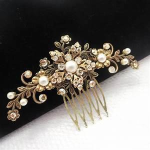 Antique Brass Hair Comb Bridal Hair Comb Wedding Hair