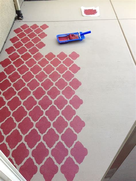 painted concrete patio with moroccan stencil overlay behr