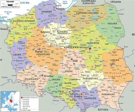 detailed clear large road political map  poland ezilon
