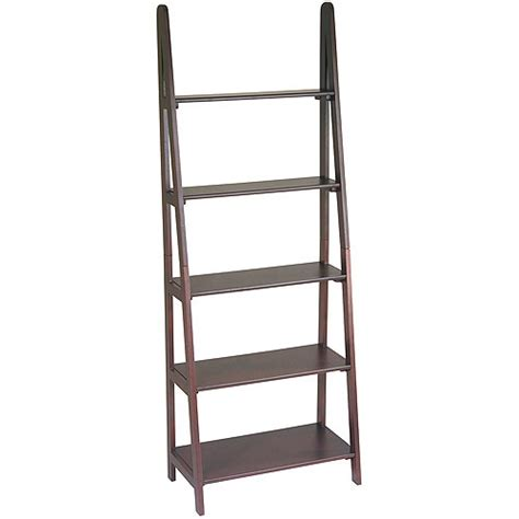 walmart ladder shelf osp designs 5 shelf ladder bookcase espresso walmart