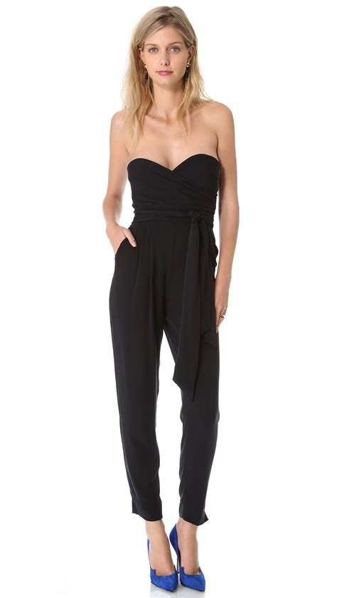 strapless jumpsuit catherine malandrino strapless jumpsuit in black lyst