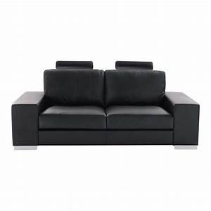 canape 2 places en cuir noir daytona maisons du monde With tapis shaggy avec canapé 2 3 places noir
