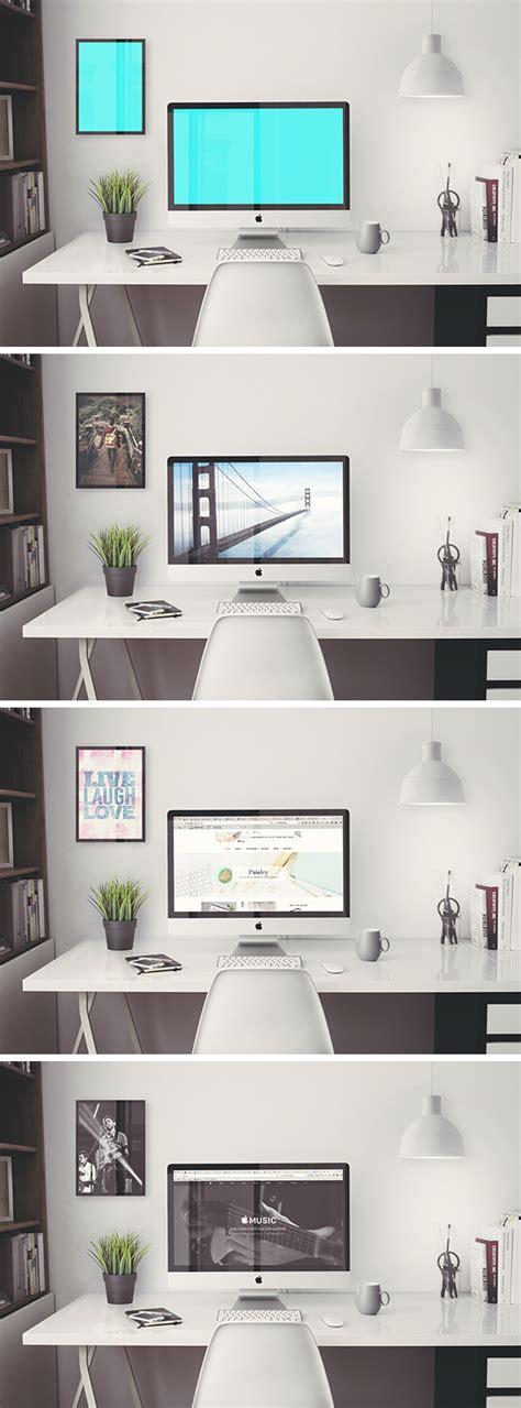 Free Imac Retina 5k Office Psd Mockup