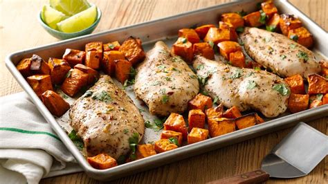 potatoes for dinner ideas jerk chicken with sweet potatoes sheet pan dinner recipe from betty crocker