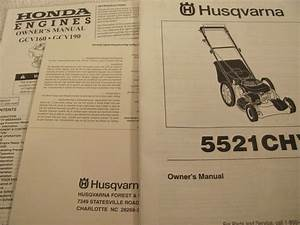 Husqvana Self Propelled Lawn Mower Model 5521chv Owner U0026 39 S