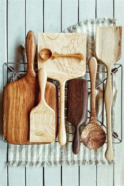 delicate beautiful wooden kitchen utensils