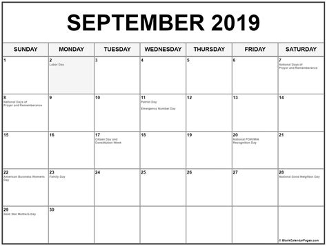 collection september calendars holidays