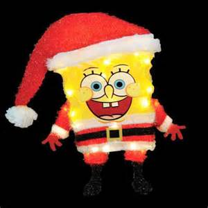 christmas lighted decorations 18 quot 3d lighted soft tinsel spongebob santa sculpture american sale
