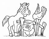 Farm Coloring Pages Horse Animal Pig Fence Activities Crafts Diy Hen Sounds sketch template