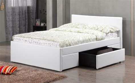 white metal bed white pu faux leather bed drawers homegenies
