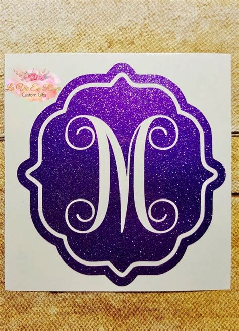 pretty letter decal monogram decal decal computer decal etsy monogram decal computer decal