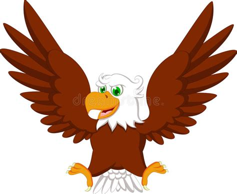 Cute Eagle Cartoon Stock Illustration. Illustration Of