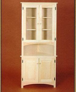 amish unfinished solid pine corner hutch china cabinet