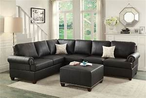 black bonded leather sectional sofa with reversible wedge With sectional sofa with table wedge