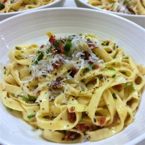 fettuccine carbonara a big beautiful bowl of pasta authentic unadulterated fettuccine alla carbonara the