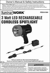 Manual For The 61960 3 Watt Led Rechargeable Cordless