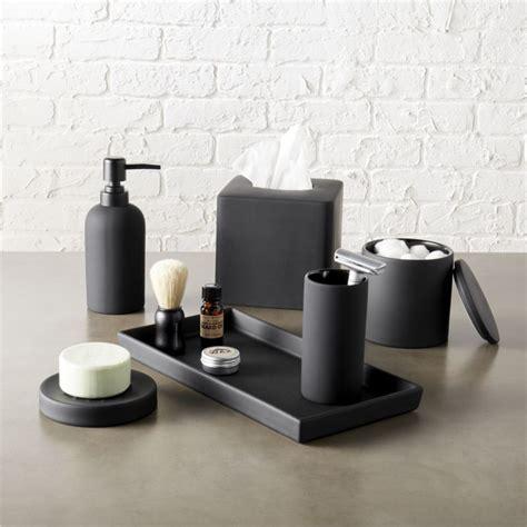 mens bathroom accessories rubber coated black bath accessories cb2