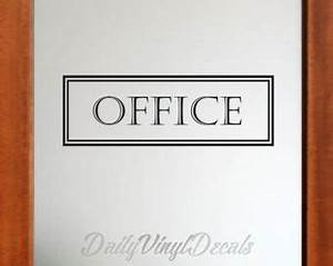 rectangle wall decal etsy With office door lettering