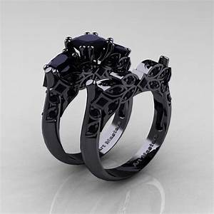 Designer classic 14k black gold three stone princess black for Black gold black diamond wedding ring sets