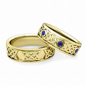his hers celtic wedding band 14k gold sapphire comfort fit With matching celtic wedding rings