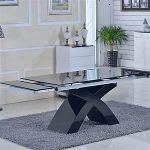 Table Verre Extensible : table en verre noir rallonges extensible elix achat vente table salle a manger pas cher ~ Teatrodelosmanantiales.com Idées de Décoration