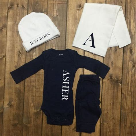 personalized baby boy coming home outfit boys monogrammed outfit newborn boy hospital baby