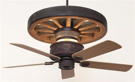 copper western wagon wheel ceiling fan