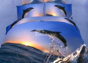 new jumping dolphin with sunrise print 4 piece bedding sets beddinginn com