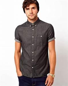 ASOS   ASOS Black Denim Shirt In Short Sleeve at ASOS