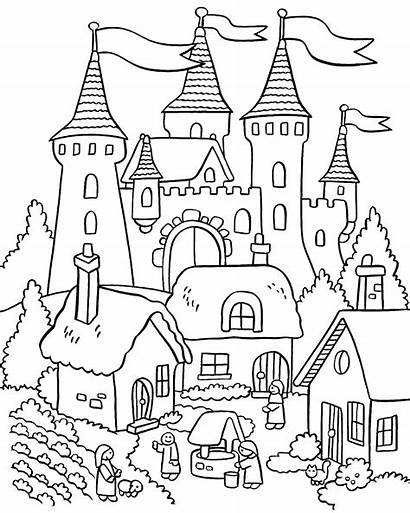 Coloring Garden Pages Colouring Castle